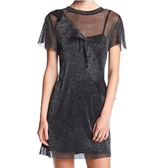 Be Bop Dresses & Skirts - Be Bop Glitter Ruffle Front Shift Dress